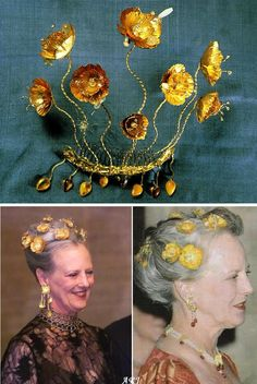 Queen Margrethe's Golden Poppies Tiara and Parure. The Queen commissioned it from Danish jewellery designer Arje Griegst in 1976. It is said to be suggested Queen Margrethe had a hand in designing it. The poppy flowers are made of 21 carat gold hammered to very thin plates. Drops of aquamarines, carved opal and moonstones can be found inside some of the flowers or the leaves. All poppies in the hairpiece are detachable. The hairpiece with a different necklace and earrings (right)