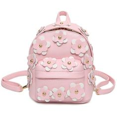 Flowers Faux Leather Mini Backpack ($23) ❤ liked on Polyvore featuring bags, backpacks, faux leather rucksack, pink mini backpack, vegan bags, pink bag and mini bag