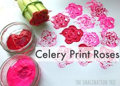 Create some beautiful artwork for mother& day gifts, thank you cards or wrapping paper by printing roses with celery stalks! A Spring flower craft for kids Mother's Day Activities, Nursery Activities, Spring Activities, Childcare Activities, Dementia Activities, Toddler Activities, Kids Crafts, Toddler Crafts, Rose Crafts