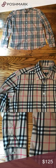 Men's plaid Burberry Brit collared shirt XL Men's Burberry Brit plaid button down collared shirt. Great shape! Size XL Burberry Shirts Dress Shirts