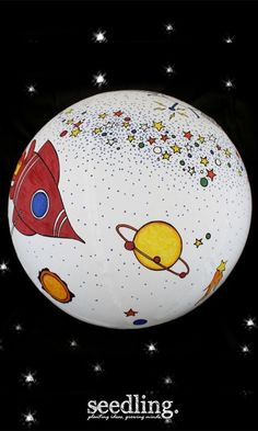 The universe is waiting for a makeover - just inflate the 40 cm ball and get cracking using our famous Seedling color markers in rainbow hues.
