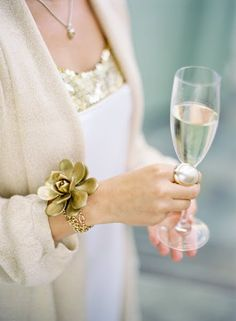 Wrist Corsage: gold painted succulant