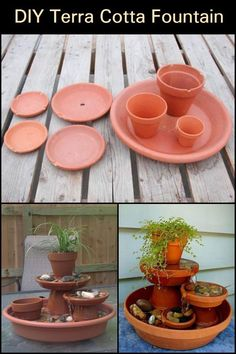 Water Feature Project How To Build A Terra Cotta Fountain Turn A Few Flower Pots Into This Attractive Terra Cotta Fountain That 39 S Simple To Make Diy Water Fountain, Diy Garden Fountains, Garden Pots, Homemade Water Fountains, Bird Bath Garden, Balcony Garden, Clay Pot Projects, Clay Pot Crafts, Garden Crafts