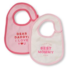 Newborn Baby 'I Have The Best Mommy Ever' Bing And 'Dear Daddy, I Love You' Bib 2-Pack - White - The Children's Place