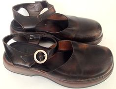 DANSKO XP Brown Leather Professional Buckle Mary Janes Clogs Size 38 US 7.5-8