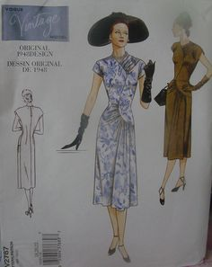 Vogue Pattern 2787 Retro Style 1948 Dress
