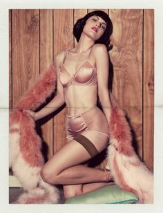 Fifi Chachnil lingerie -- Falke stockings -- Sonia Rykiel boa -- Photographers: Sofia Sanchez & Mauro Mongiello for Numéro #151 March '14 -- Model: Guinevere van Seenus