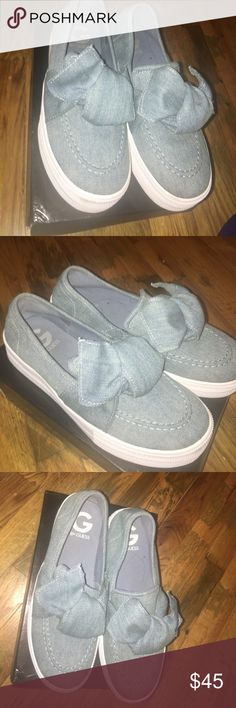 Guess sneakers Very trendy jean material sneakers. G by guess brand. Worn once. Size 8 womens Shoes Sneakers