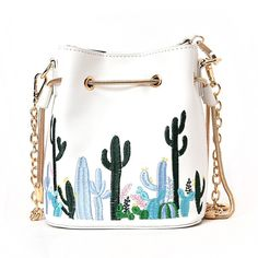 LABANCA Womens Mini Bucket Bag Cactus Printed Shoulder Bag with Drawstring Chain Crossbody Bag White: Handbags: AmazonSmile