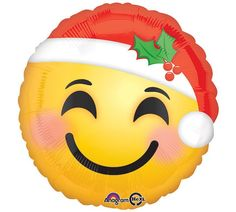 "SANTA Hat EMOJI 17"" Mylar BALLOON Emoticon Smiley Face Christmas Holiday Birthday Party Supplies Decoration Centerpiece Photo Prop"