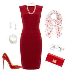 """""""All Red"""" by pkoff ❤ liked on Polyvore featuring Pied a Terre, J.Crew, Humble Chic, Christian Louboutin, Miu Miu and Accessorize"""