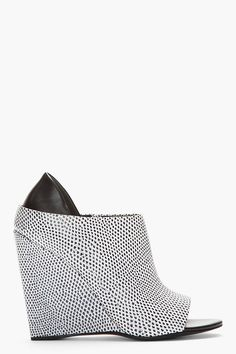 Alexander Wang Black And White Lizard Print Alla Wedge Heels