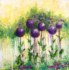 Purple Globe flowers Allium canvas by JulesArtDesign on Etsy, $200.00