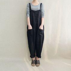6b89e788f40 Women Casual Linen Jumpsuits Overalls Pants With Pockets Cotton Jumpsuit,  Casual Jumpsuit, Bodycon Jumpsuit