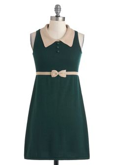 Weekend of Writing Dress by Sugarhill Boutique - Mid-length, Green, Tan / Cream, Solid, Bows, Buttons, Work, Sheath / Shift, Sleeveless, Fall, Scholastic/Collegiate