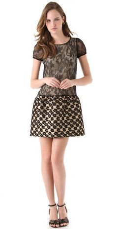 RED Valentino    Leopard Flower & Lace Dress  Style #:REDVA40176  $725.00