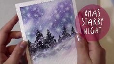 WATERCOLOR Tutorial: How to Paint a CHRISTMAS NIGHT Landscape (Christmas...