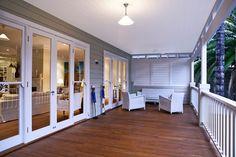 White timber balustrade for deck