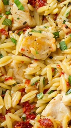 Cooking Classy: Sun Dried Tomato Basil and Parmesan Orzo with Chicken Orzo Recipes, New Recipes, Chicken Recipes, Dinner Recipes, Cooking Recipes, Favorite Recipes, Healthy Recipes, Healthy Chicken, Pasta Dishes