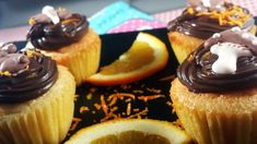 Keto cupcakes with chocolate and orange zest