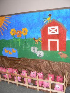 T's First Grade Class: Papier Mache Piggies Farm Animal Crafts, Farm Crafts, Farm Bulletin Board, Farm Activities, Preschool Farm, Farm Unit, Barn Wood Crafts, Farm Birthday, Vacation Bible School