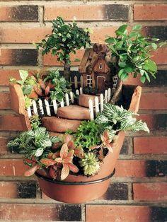 40 favourite indoor fairy garden ideas 37 beautiful gnome garden and fairy garden design ideas 2 Broken Pot Garden, Fairy Garden Pots, Indoor Fairy Gardens, Fairy Garden Houses, Gnome Garden, Miniature Fairy Gardens, Garden Art, Indoor Garden, Fairy Gardening