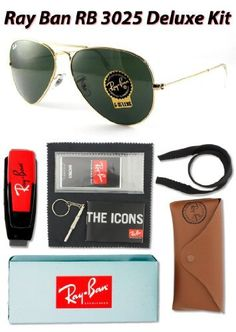 Ray Ban RB3025 Aviator Large Metal Sunglasses, L0205 Arista Gold (G-15XLT Lens), 58mm - Deluxe Kit Ray-Ban. $89.95. Includes Exclusive Deluxe Accessories Kit. non-polarized. glass lens. metal frame. Lens width: 58