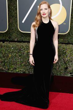 Jessica Chastain in Armani Prive, 2018 Golden Globes