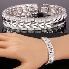 U7 18K Gold Bracelet Men Jewelry Rock Style 18k Real Gold /Platinum Plated 19cm 12MM Chunky Chain Link Bracelet Wholesale