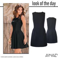 Vestido negro formal, cintura marcada, bolsas laterales