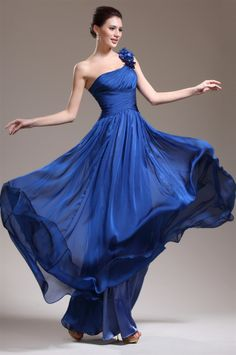 osell wholesale dropship Chiffon Pleated Flower One Shoulder Sleeveless Floor Length A Line Evening Prom Dresses $77.49