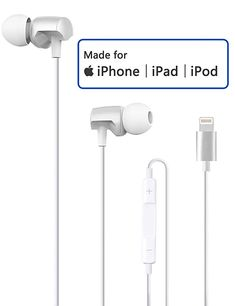Lightning Headphones Compatible with iPhone X XS XS Max XR iPhone 8 P iPhone 7 7 Plus Earphones with Microphone Controller MFi Certified Wired Earbuds Wireless Headphones For Tv, Iphone Headphones, Running Headphones, Sports Headphones, Iphone 7, Ipad Pro, Gps Tracking, Audio