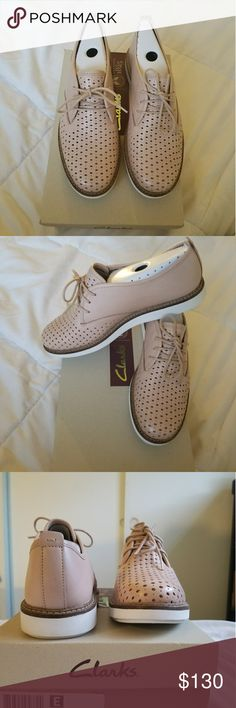 Rare Clarks Casual Shoes Glick Resseta nudepink ☀️New With box   Perfect nude blush color addition to your Spring Summer wardrobe. Can be worn with almost any outfit!  Ladies Clarks Lace Up Casual shoes  Ladies Casual Shoes Ideal For Everyday Wear  Leather/Nubuck Upper Leather Lining  💕Non smoking home Clarks Shoes Flats & Loafers