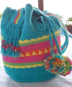 Tapestry Bag, Tapestry Crochet, Crochet Handbags, Crochet Bags, Hobo Bags, Drawstring Backpack, Purses And Bags, Diy And Crafts, Backpacks