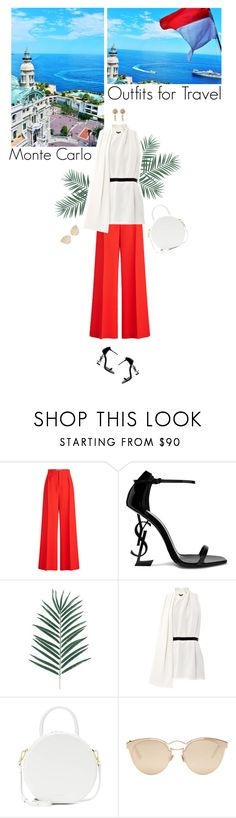 """""""day look for monte carlo"""" by helena99 ❤ liked on Polyvore featuring Roland Mouret, Yves Saint Laurent, Alexander Wang, Mansur Gavriel, Christian Dior, travel, YSL, montecarlo, widelegtrousers and outfitsfortravel"""