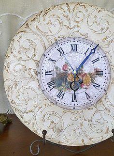 Часы в стиле декупаж, трафарет Decoupage, Arte Country, Mosaic Madness, Old Clocks, Diy Clock, Concrete Floors, Arts And Crafts, Sewing Crafts, Painting