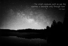 """For small creatures such as we the vastness is bearable only through love."" Carl Sagan"