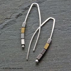 Sterling Silver and Gold Hematite Earrings - Modern Threader Handmade Dangle Earrings by mymusejewelry from Gathering Charms by Gilliauna. Find it now at http://ift.tt/1Mumuoj!