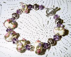 Lilac and Rose Lampwork Swarovski Crystals and by judesjujus, $70.00