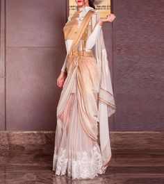 Beautiful Ivory Embroidered Net #Saree #Dress From #Soltee By Sulakshana Monga. Available At Indian Roots.
