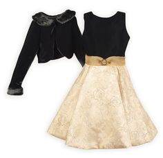Glimmering Golden Rose Party Dress Luxurious black velvet bodice dips to a V in back. Fully lined swing style skirt in a shimmering gold brocade. Hidden zip back closure. Girls Special Occasion Dresses, Winter Sale, Girls 4, Holiday Outfits, Fur Trim, Skirt Fashion, Skater Skirt, Cool Style, Party Dress