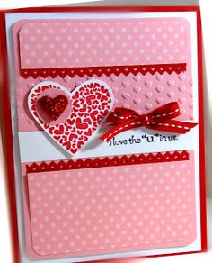 handmade valentine ... mostly pink with red & white embellishments ... like the layers ... Stampin' Up!