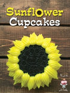 Sunflower Cupcakes made with Oreo Cookies