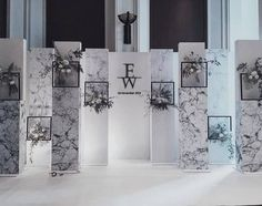 White marble background looks cool DIY it: Marble vinyl Scrap wood from local hardware store (Lowe's or Home Depot) Wedding Backdrop Design, Wedding Stage Design, Wedding Stage Decorations, Diy Backdrop, Wedding Designs, Backdrops, Looks Cool, Trendy Wedding, Wedding Blue