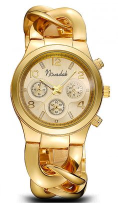 67703067c Novadab Stainless Chrono Steel Watch Wrist Watches For Ladies Gold >>>  Details can be found by clicking on the image. (This is an affiliate link)  #watches