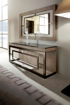 Contemporary console tables are essential to design pieces in any modern interior. This modern furniture is often found in entryways and hallway, the support fo Steel Furniture, Luxury Furniture, Home Furniture, Furniture Design, Contemporary Furniture, Furniture Ideas, Furniture Online, Furniture Companies, Modern Console Tables