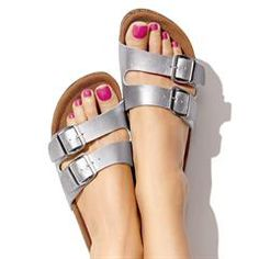 Contour Lightweight Slider  I have these and I love them!  #comfortable #veganleather  #silversandals
