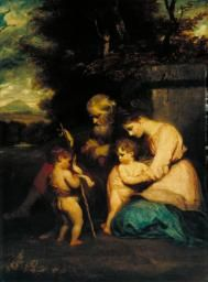 'The Holy Family with the Infant St John', Sir Joshua Reynolds, Blessed Mother Mary, Blessed Virgin Mary, Calming Images, Joshua Reynolds, Family Poster, The Age Of Innocence, Images Of Mary, Mary And Jesus, Social Art
