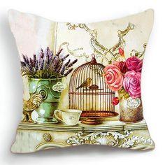 Retro Vintage Lavander Flor Bird Cage Cotton Linen fronha capa de almofada 18'' 45CM-in capa de almofada de Casa e Jardim em Aliexpress.com