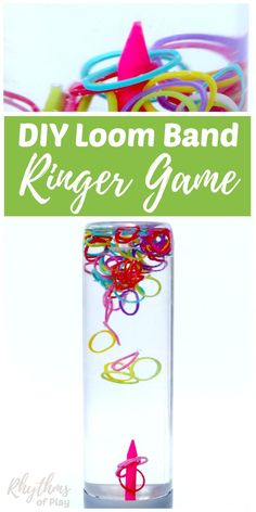 A DIY rainbow loom band ringer game sensory bottle is an easy way to help children (and adults) relieve stress while they play. Calm down jars like this ringer game for kids and adults of all ages can be used for safe no mess sensory play, a science teach